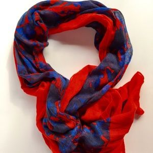 Red + Blue Floral Scarf